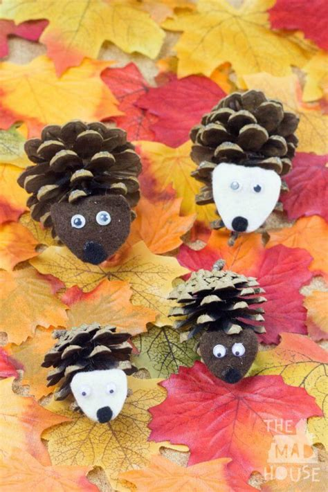 easy fall crafts that anyone can make happiness is 543 | Pinecone Hedgehog family
