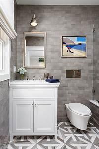 Bathroom, Reno, With, Grey, Subway, Tile