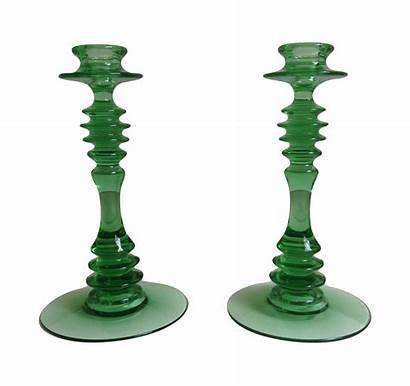 Glass Depression Holders Candle Chairish Pair