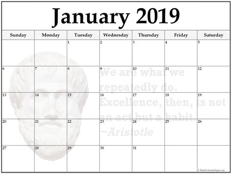 calendar template 2019 24 january 2019 printable quote calendars