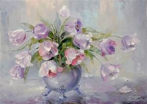 Tableau Fleurs Moderne : tableau peinture bouquet fleurs moderne tulipes painting ~ Teatrodelosmanantiales.com Idées de Décoration