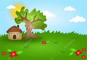 Paisaje de dibujos animados con casa de madera — Foto de ...