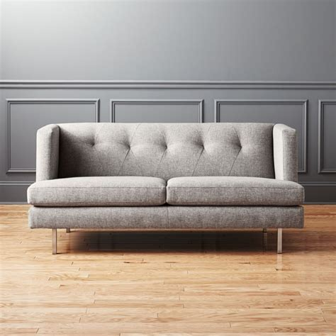 Cb2 Loveseat by Avec Grey Apartment Sofa With Brushed Stainless Steel Legs