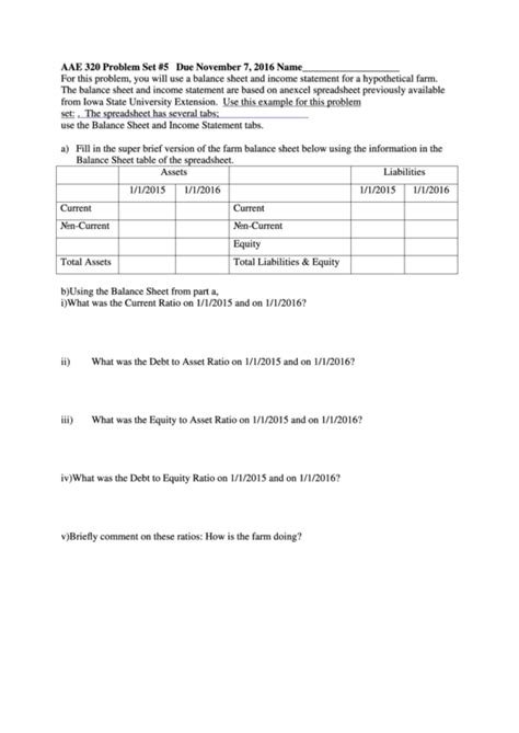balance sheet  income statement worksheet printable