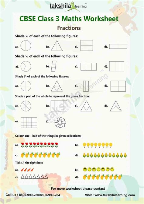practice worksheet fraction for class 3 maths