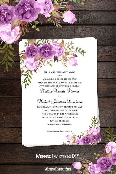 printable wedding invitation romantic blossoms