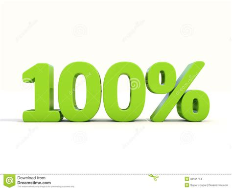 100% Percentage Rate Icon On A White Background Stock