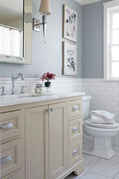 cream  blue bathroom features upper walls painted blue
