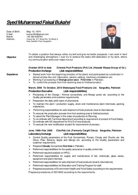 Resume Format For Experienced Food Technologist by Cv Faisal For Food Science Processing And Technology