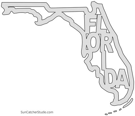 florida map outline printable state shape stencil