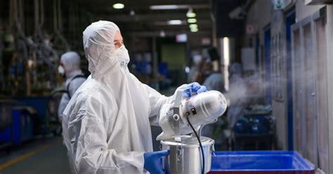hazmat crew decontaminates warehouses  offices