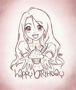 birthday anime girl doodle by LadyInSilver on DeviantArt