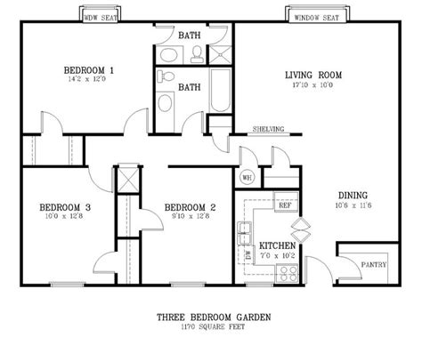 Bedroom Sizes by Standard Living Room Size Courtyard 3 Br Floor Plan Jpg