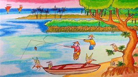 gambar mewarnai nelayan mencari ikan di laut