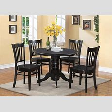 5pc Shelton Round Dinette Kitchen Table With 4 Wood Seat