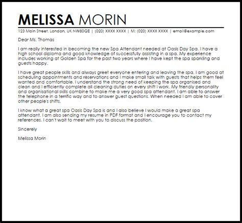 I Am Sending My Resume With Reference by Spa Attendant Cover Letter Sle Livecareer