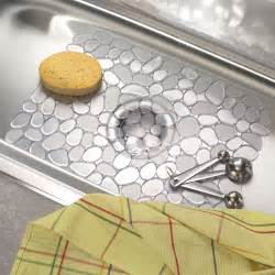 interdesign pebblz kitchen sink protector mat large clear