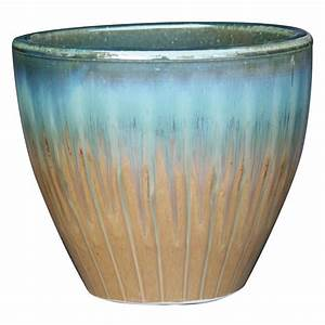 Shop garden treasures 151 in x 152 in tan blue ceramic for Outdoor ceramic planters