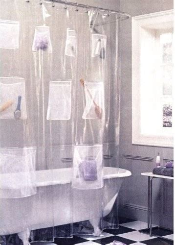mesh pockets clear vinyl shower curtain eclectic