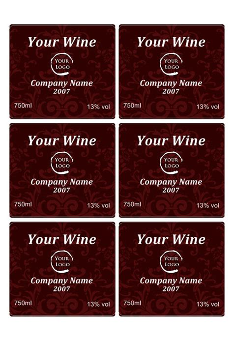 Printable Wine Labels Free Templates by Wine Label Template Personilize Your Own Wine Labels