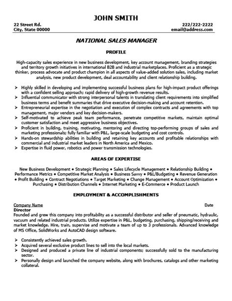 National Sales Manager Resume by National Sales Manager Resume Template Premium Resume Sles Exle