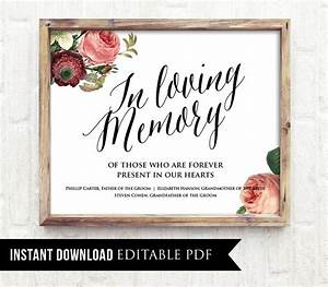 50 off in loving memory wedding sign template editable With in memory cards templates