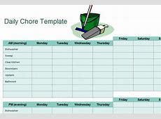 Chore Sheet Checklist My Excel Templates