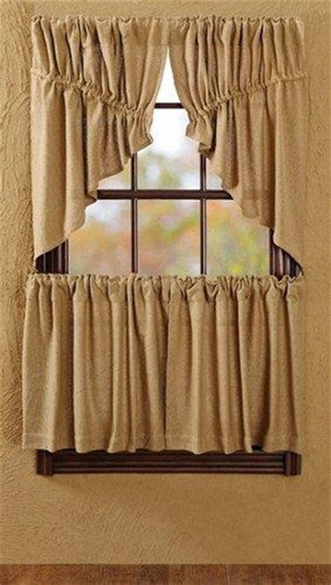 burlap natural prairie swag curtains primitive star