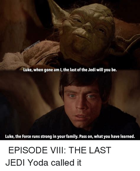 Last Jedi Memes - luke when gone am i the last of the jedi will you be luke the force runs strong in your family