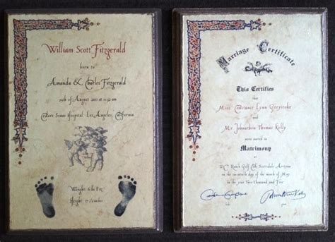 exquisite birth wedding certificate tablets