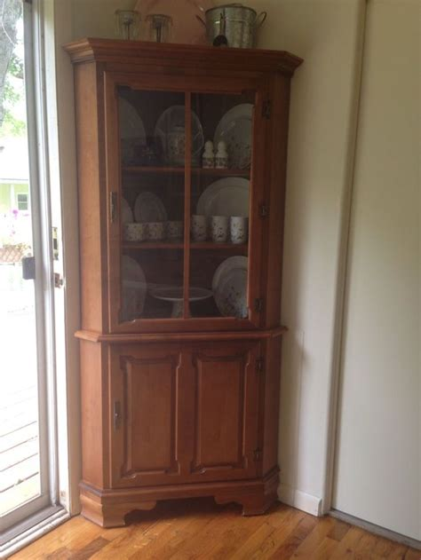 corner china cabinet hutch vintage tell city chair company solid hard rock maple