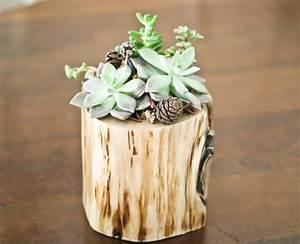 Deko Ideen Holz : baumstrunk blumentopf design kreative deko ideen zum ~ Articles-book.com Haus und Dekorationen