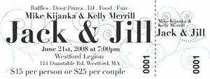 Georgeous o jack and jill tickets and invitations for Jack and jill ticket templates