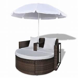 Polyrattan Lounge Set : brown garden poly rattan lounge set with parasol outdoor ~ Whattoseeinmadrid.com Haus und Dekorationen