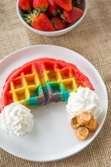 image may contain kitchen and belgian rainbow waffles dinner then dessert
