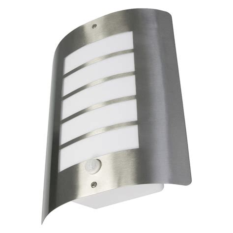 avon 60 watt ip44 outdoor wall light with pir stainless