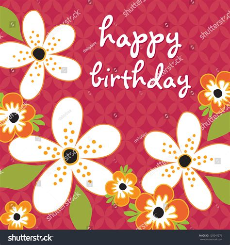 raster birthday card template white orange stock