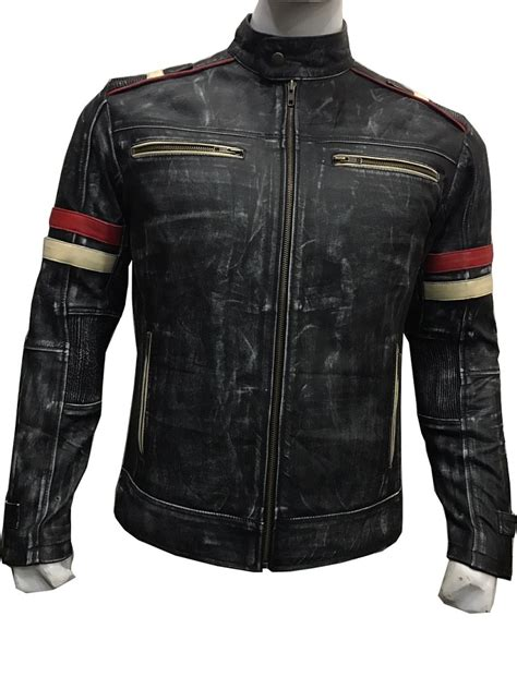 moto biker jacket men 39 s biker vintage cafe racer retro moto leather jacket