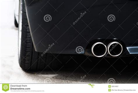 dual tailpipe  sports car royalty  stock photography