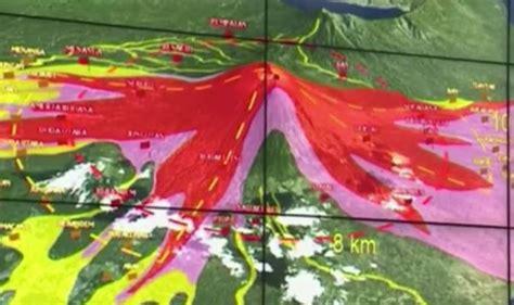 bali volcano lahar map   cold lava flow
