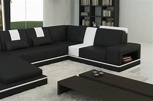 Canape Angle 6 7 Places : canap d 39 angle en cuir italien 6 7 places sublimo noir et blanc mobilier priv ~ Maxctalentgroup.com Avis de Voitures