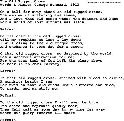rugged cross lyrics words to the song the rugged cross roselawnlutheran