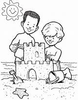 Sand Castle Sandcastle Coloring Boys Drawing Pages Clipart Create Print Beach Building Build Making Clip Getdrawings sketch template