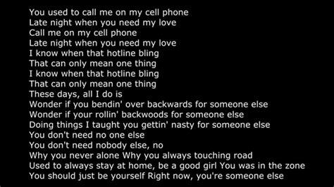 phone lyrics hotline bling lyrics on screen ovo 2015