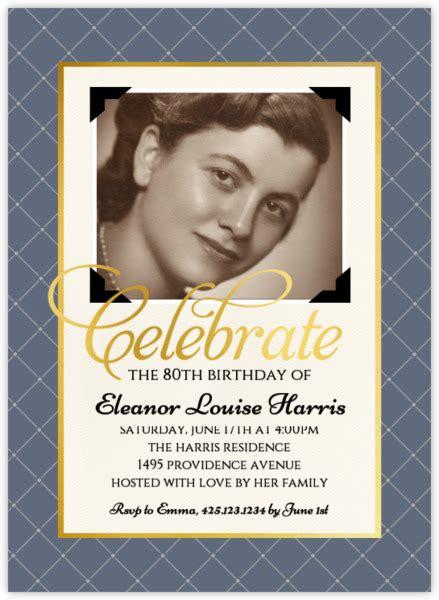Vintage Photo Birthday Party Invitation 80th Birthday