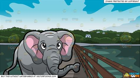 elephant walking    zoo  bridge leading