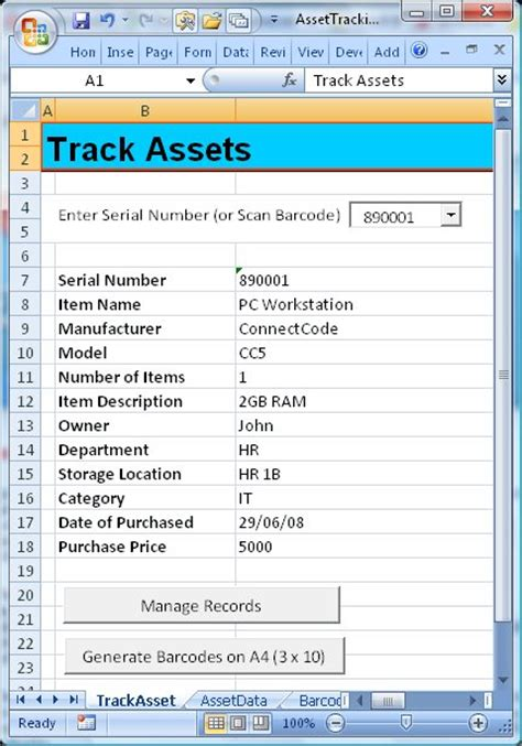 connectcode asset tracking spreadsheet information