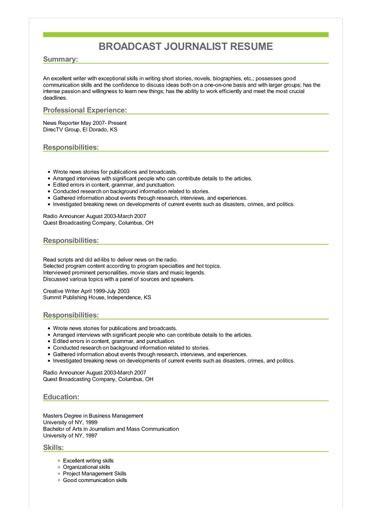 Journalist Resume Sle by Sle Broadcast Journalist Resume