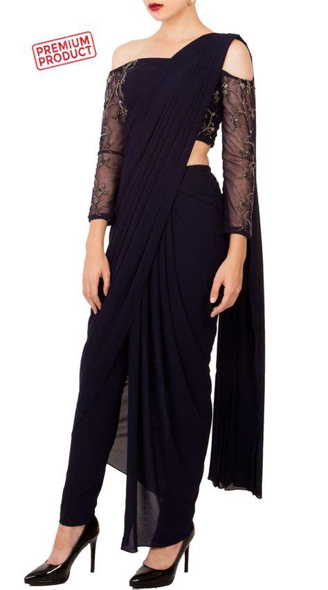 midnight blue drape saree   shoulder blouse bp