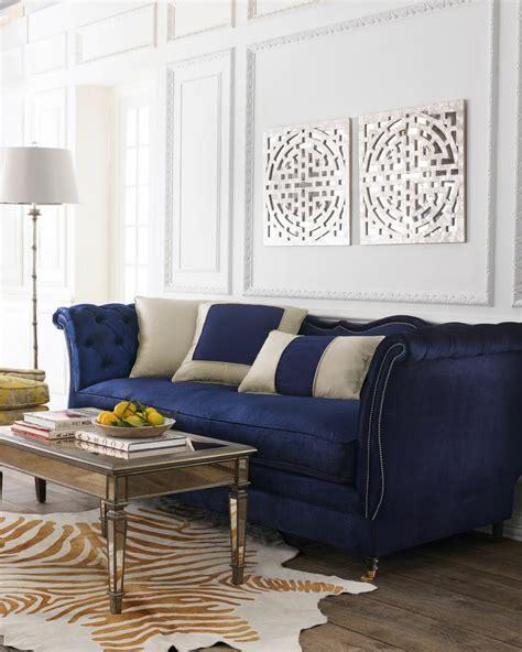 canapé chesterfield velour decor sofá azul niina secrets